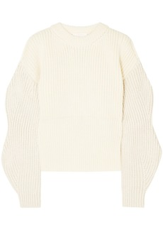 Chloé Woman Ribbed-knit Wool And Silk-blend Sweater Ivory