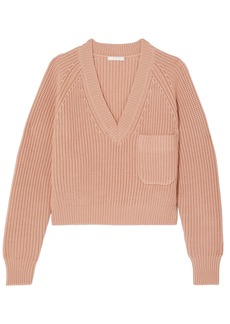 Chloé Woman Ribbed Wool Sweater Peach
