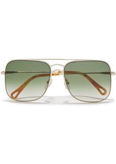 Chloé Woman Ricky Square-frame Gold-tone Sunglasses Leaf Green