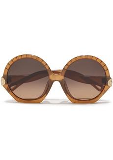Chloé Woman Vera Round-frame Acetate Sunglasses Brown