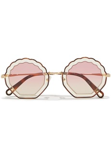 Chloé Woman Round-frame Acetate And Gold-tone Sunglasses Brown