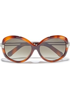 Chloé Woman Round-frame Tortoiseshell Acetate And Gold-tone Sunglasses Light Brown
