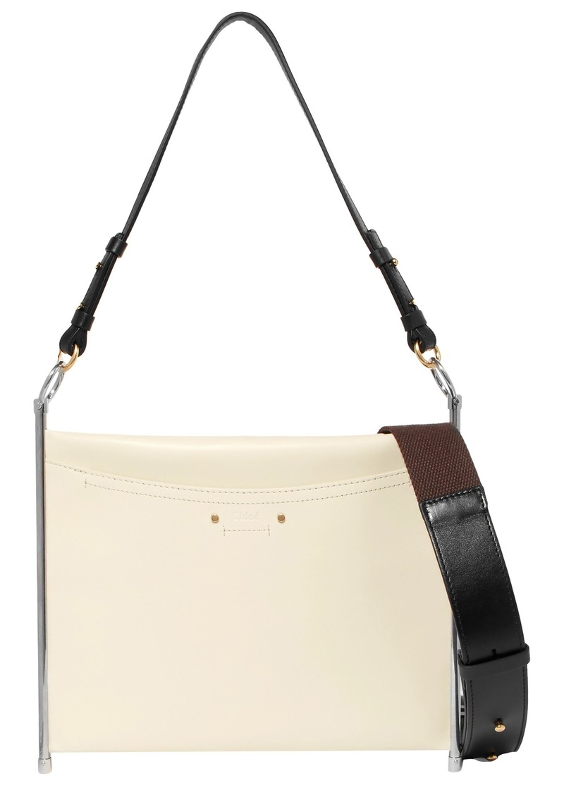 Chloé Woman Roy Convertible Textured-leather Shoulder Bag Ecru