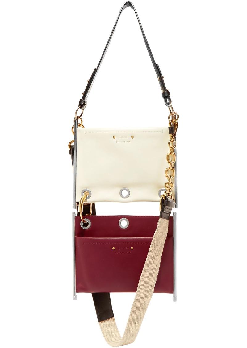 Chloé Woman Roy Convertible Two-tone Leather Shoulder Bag White