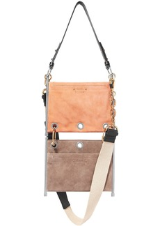Chloé Woman Roy Convertible Two-tone Suede Shoulder Bag Taupe