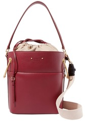 Chloé Woman Roy Medium Leather Bucket Bag Burgundy