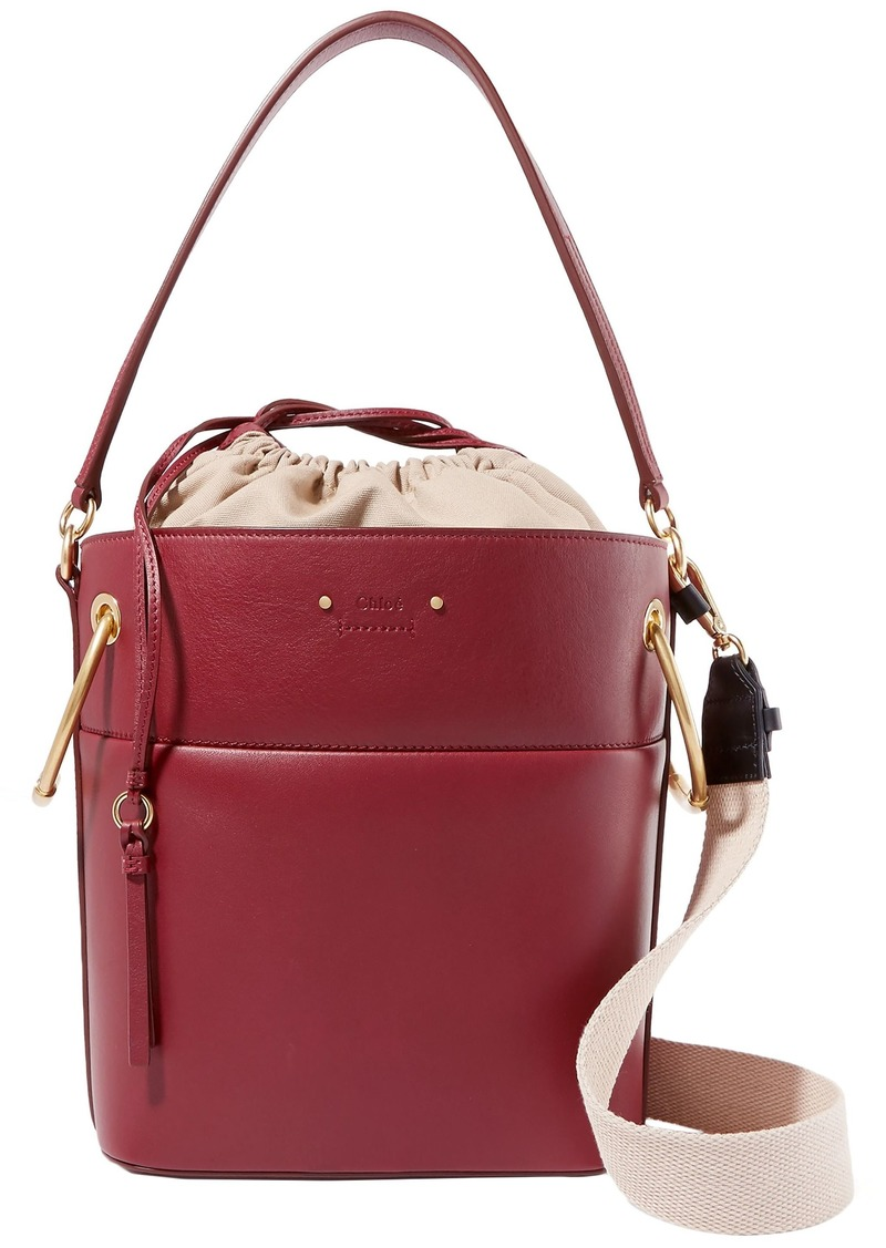 Chloé Woman Roy Medium Leather Bucket Bag Burgundy