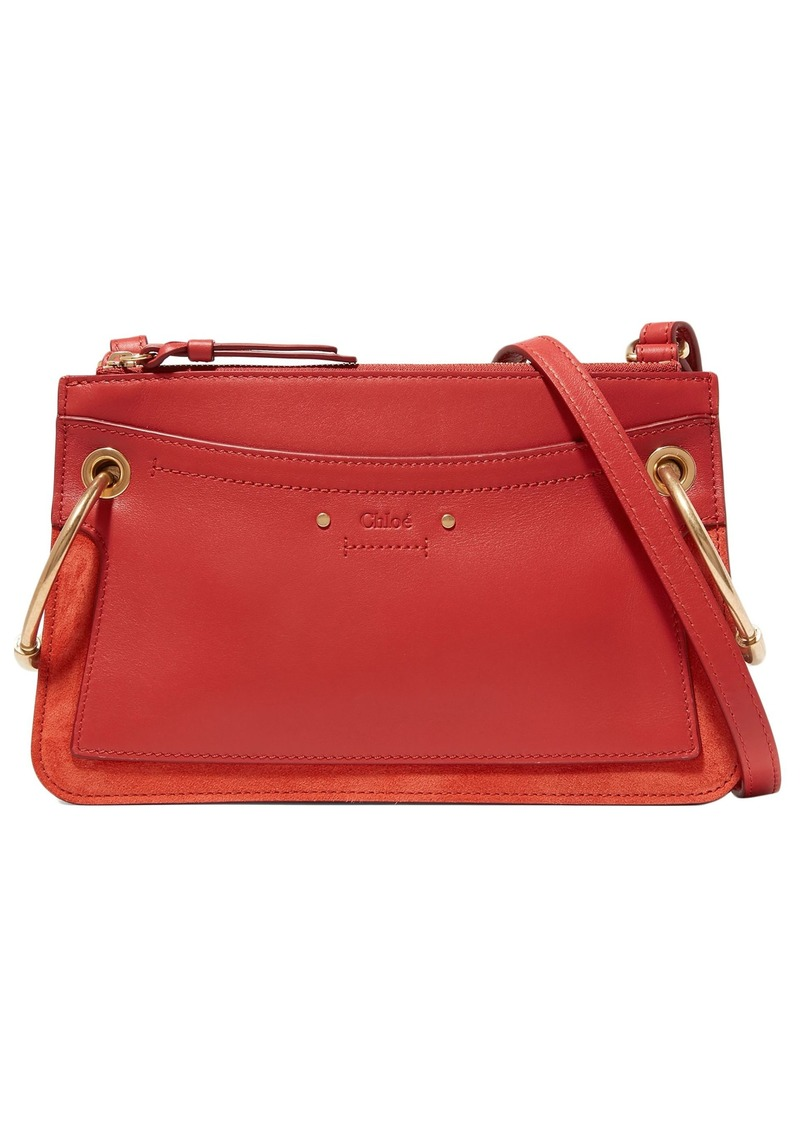 Chloé Woman Roy Mini Leather And Suede Shoulder Bag Red