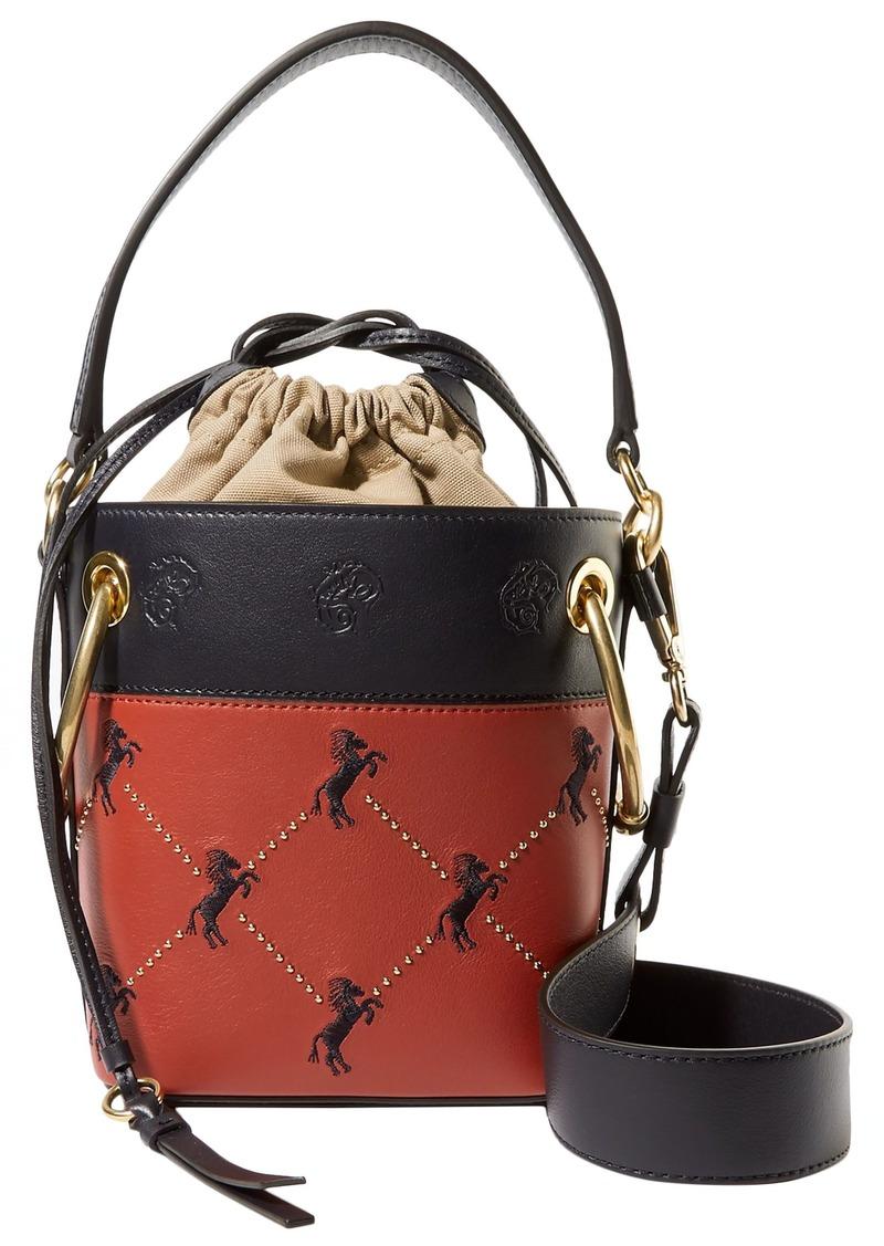 Chloé Woman Roy Mini Studded Embroidered Leather Bucket Bag Brick