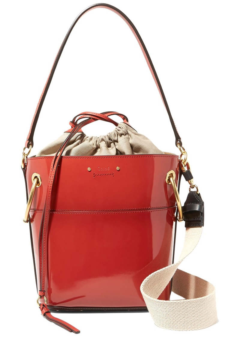 Chloé Woman Roy Small Glossed-leather Bucket Bag Red