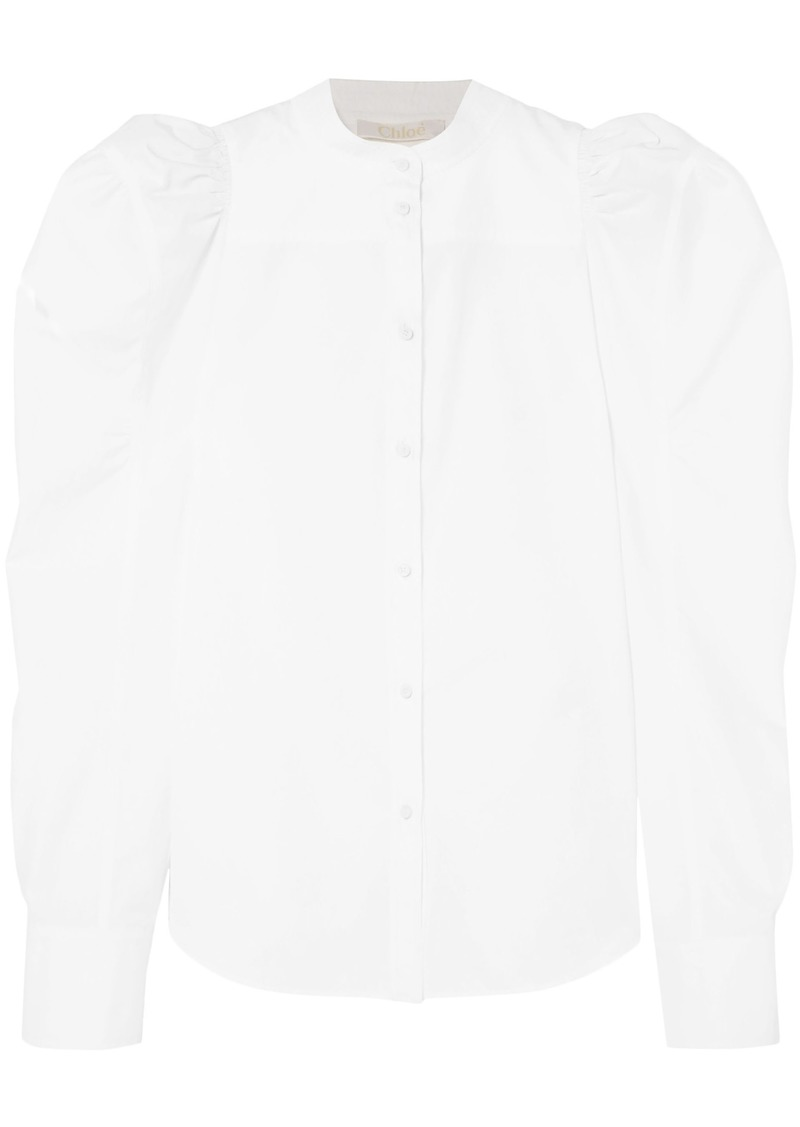 Chloé Woman Ruched Cotton-poplin Blouse White