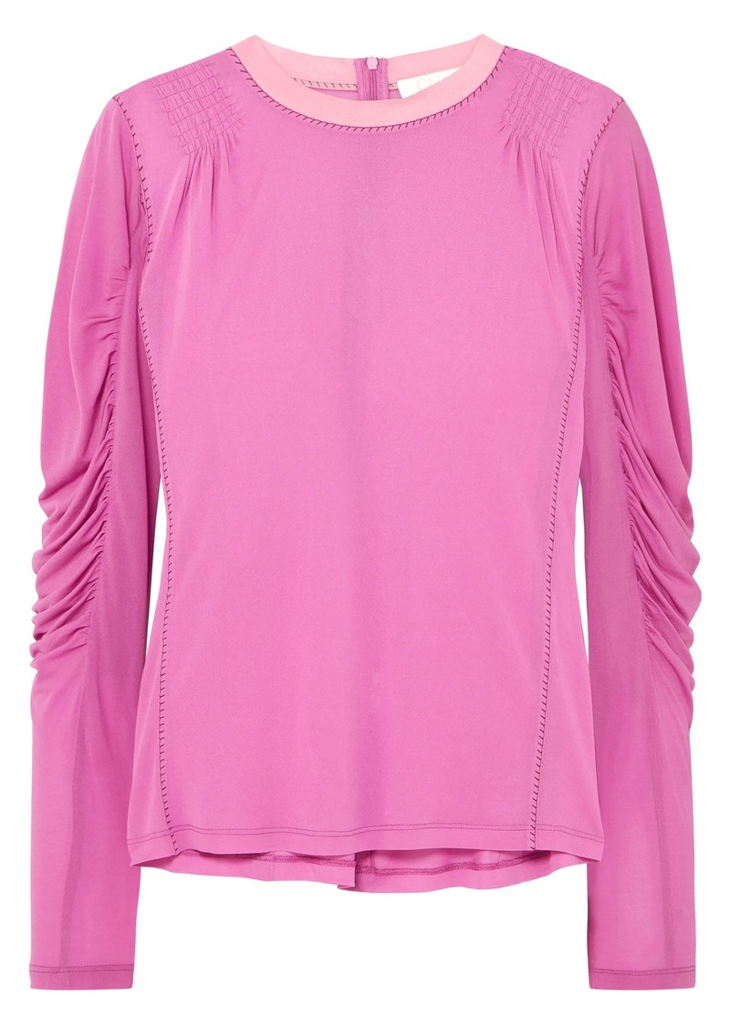 Chloé Woman Ruched Satin-jersey Top Pink