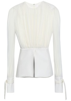 Chloé Woman Ruched Silk-voile And Crepe Peplum Blouse Ivory
