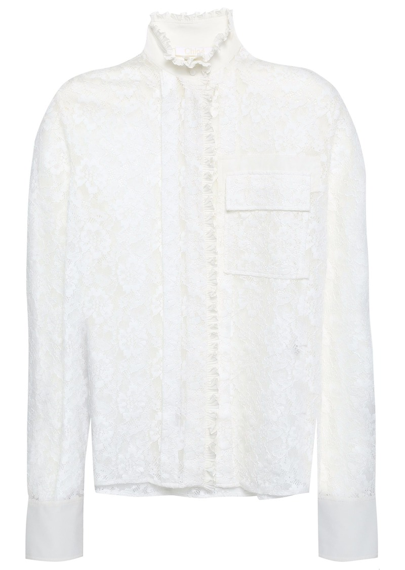 Chloé Woman Ruffle-trimmed Cotton-blend Corded Lace And Crepe De Chine Blouse White