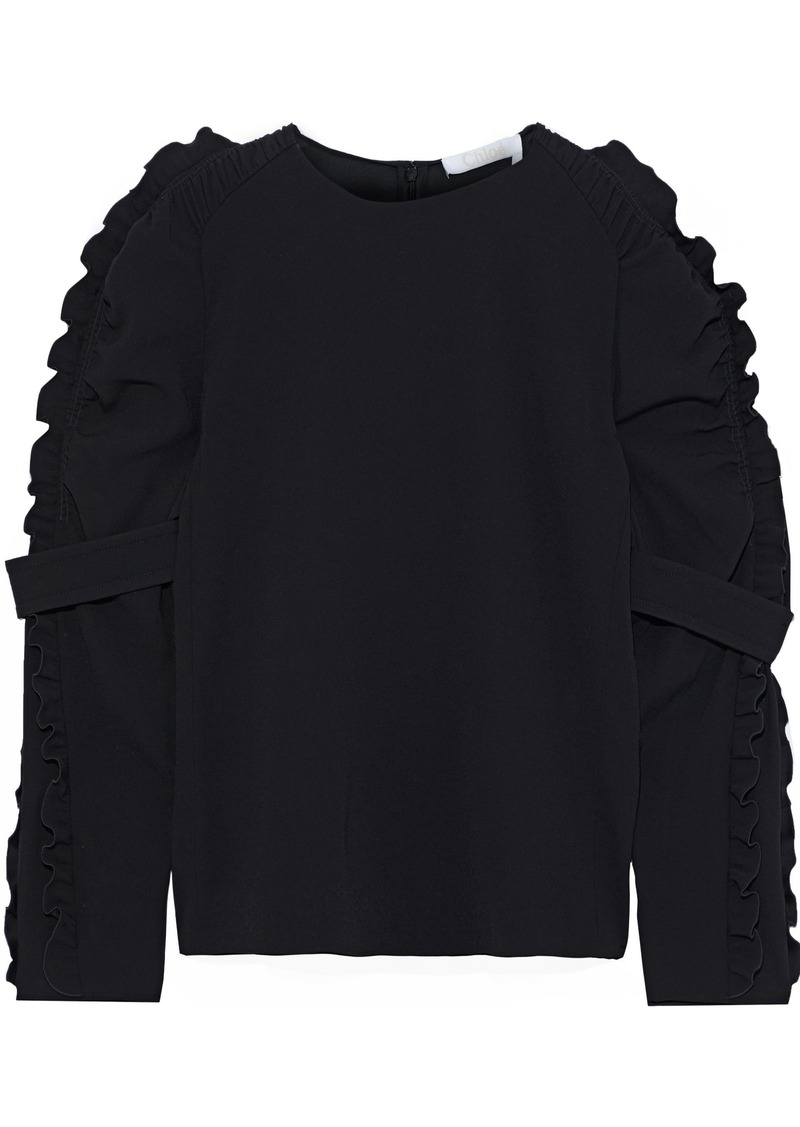 Chloé Woman Ruffle-trimmed Crepe Blouse Black