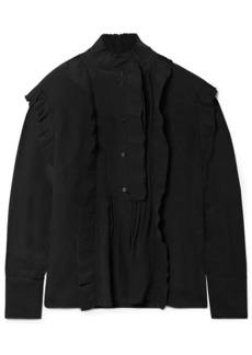 Chloé Woman Ruffle-trimmed Pintucked Silk Crepe De Chine Blouse Black