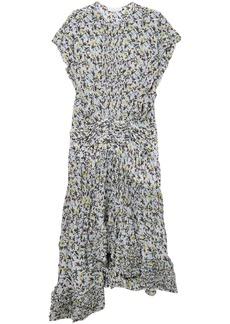 Chloé Woman Ruffle-trimmed Pleated Floral-print Georgette Midi Dress Sky Blue