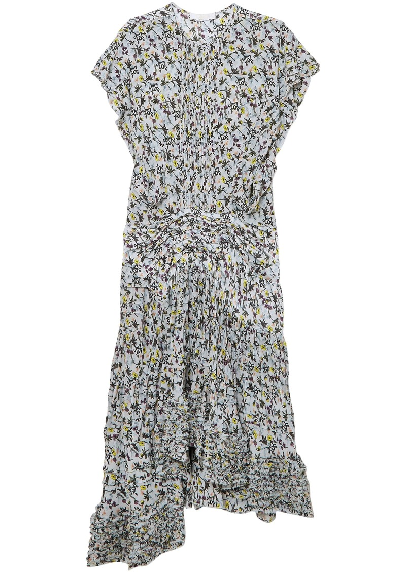 Chloé Woman Ruffle-trimmed Pleated Floral-print Georgette Midi Dress Sky Blue