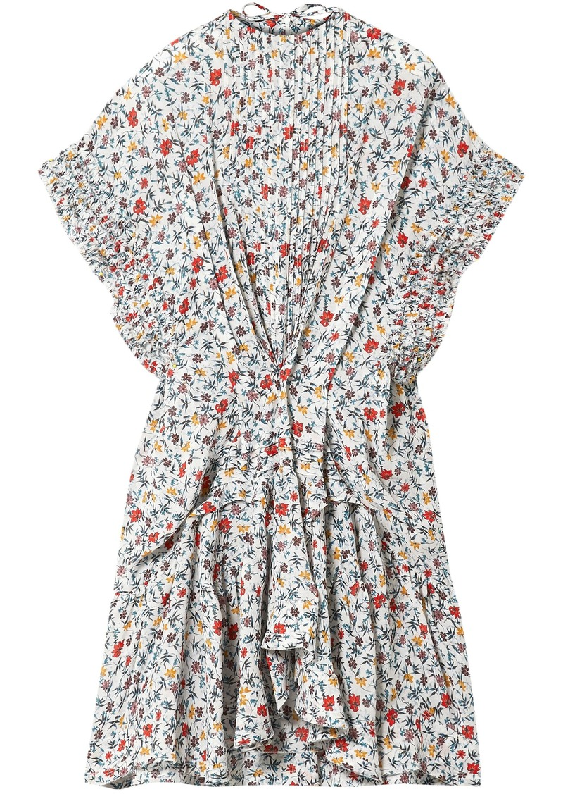 Chloé Woman Ruffle-trimmed Pleated Floral-print Georgette Mini Dress Off-white