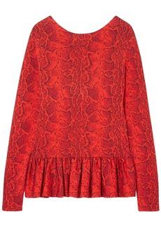 Chloé Woman Ruffle-trimmed Snake-print Jacquard Peplum Blouse Tomato Red