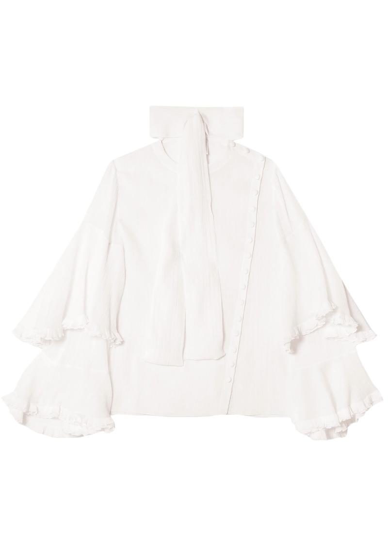 Chloé Woman Ruffled Cotton And Silk-blend Blouse White