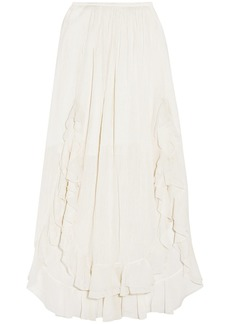 Chloé Woman Ruffled Cotton And Silk-blend Maxi Skirt Off-white