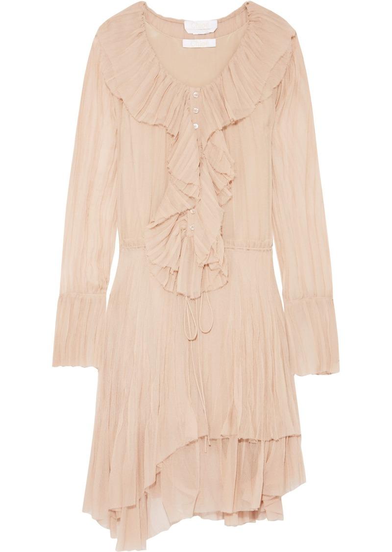 Chloé Woman Ruffled Crinkled Silk-georgette Dress Blush