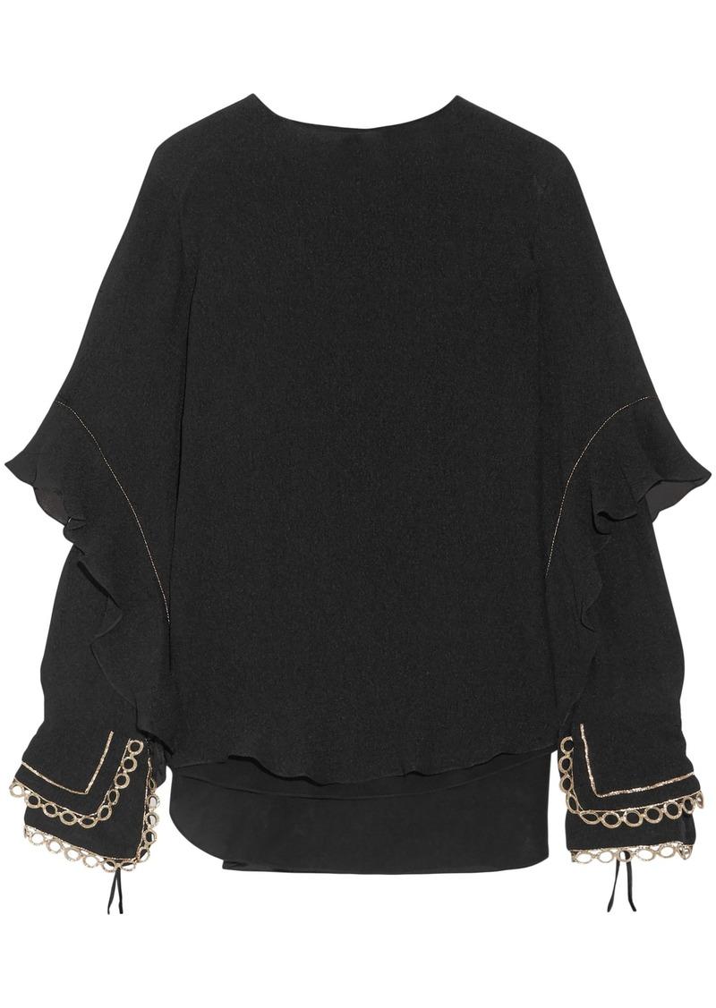 Chloé Woman Ruffled Metallic-trimmed Silk-seersucker Blouse Black