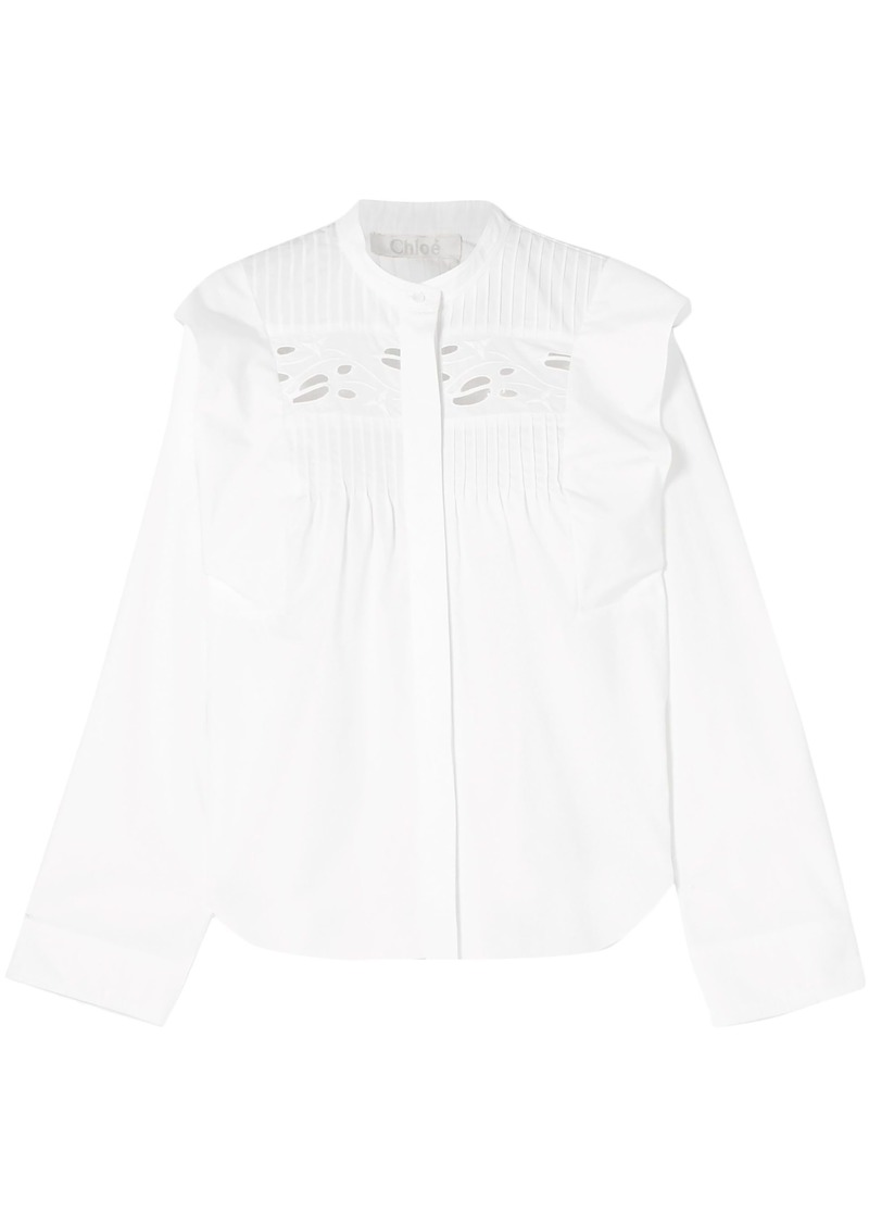 Chloé Woman Ruffled Pintucked Broderie Anglaise Cotton Blouse White