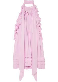 Chloé Woman Ruffled Silk-charmeuse Mini Dress Baby Pink