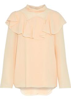 Chloé Woman Ruffled Silk Crepe De Chine Blouse Pastel Orange