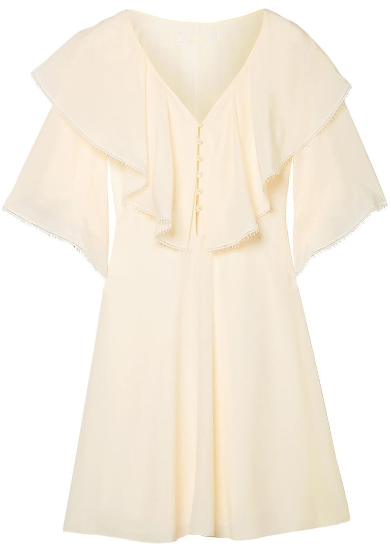 Chloé Woman Ruffled Silk Crepe De Chine Mini Dress Cream