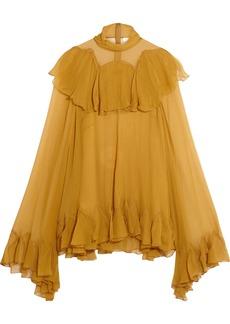 Chloé Woman Ruffled Silk-georgette Blouse Mustard