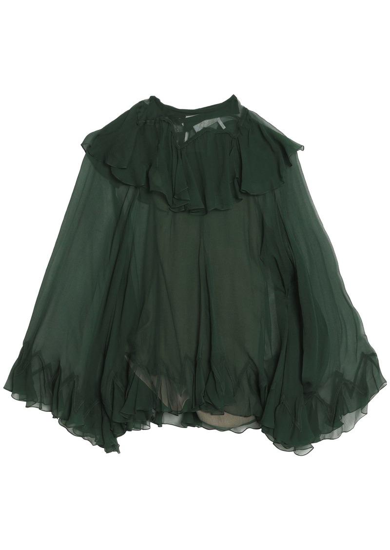 Chloé Woman Ruffled Silk-georgette Blouse Dark Green