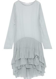 Chloé Woman Ruffled Silk-georgette Dress Grey Green