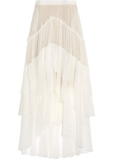 Chloé Woman Ruffled Tiered Silk-mousseline Maxi Skirt Ivory