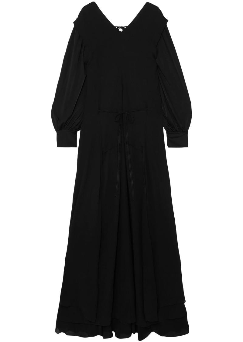 Chloé Woman Satin-jersey And Draped Chiffon Maxi Dress Black