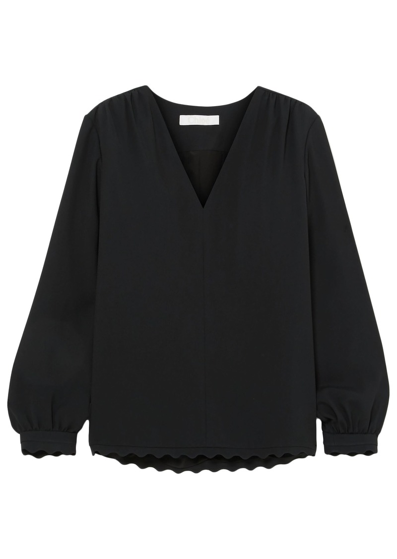 Chloé Woman Scalloped Cady Blouse Black