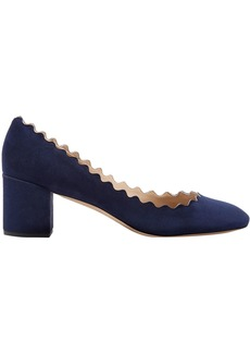 Chloé Woman Scalloped Suede Pumps Navy