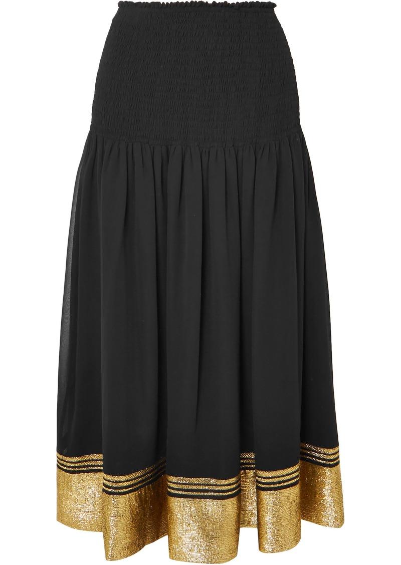 Chloé Woman Shirred Silk-blend Chiffon And Lamé Midi Skirt Black