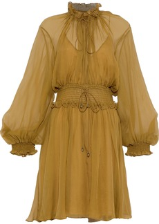 Chloé Woman Shirred Silk-georgette Dress Sage Green