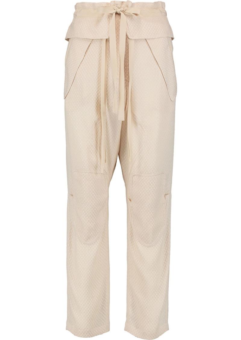 Chloé Woman Silk-blend Cloqué Tapered Pants Blush