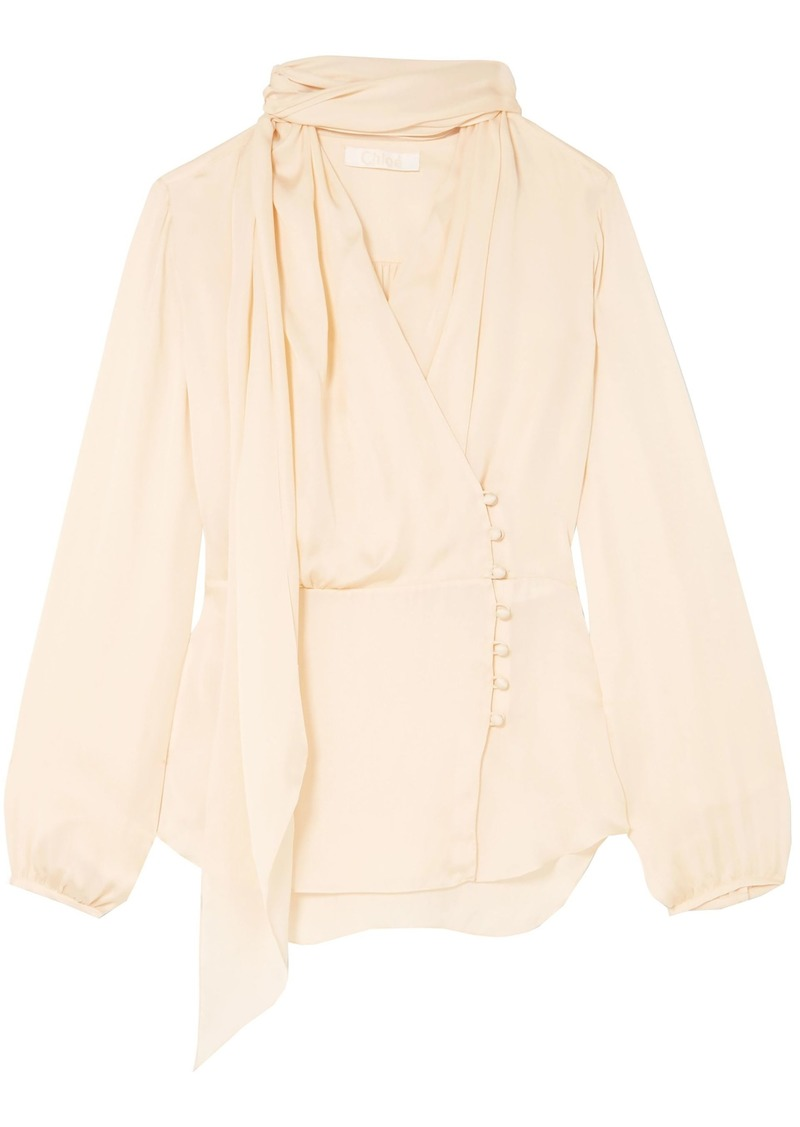 Chloé Woman Silk Crepe De Chine Blouse Cream