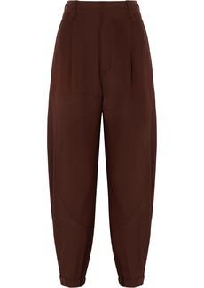 Chloé Woman Silk Crepe De Chine Tapered Pants Brown