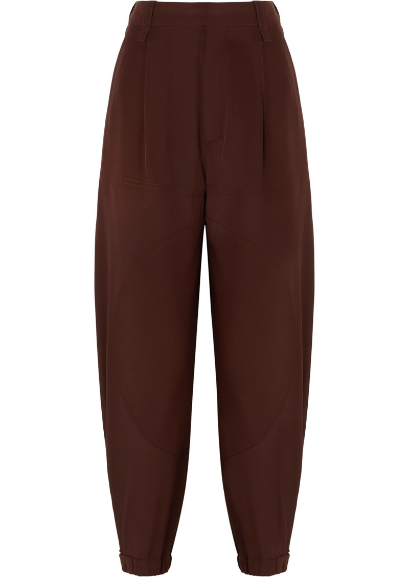 Chloé Woman Silk Crepe De Chine Tapered Pants Brown