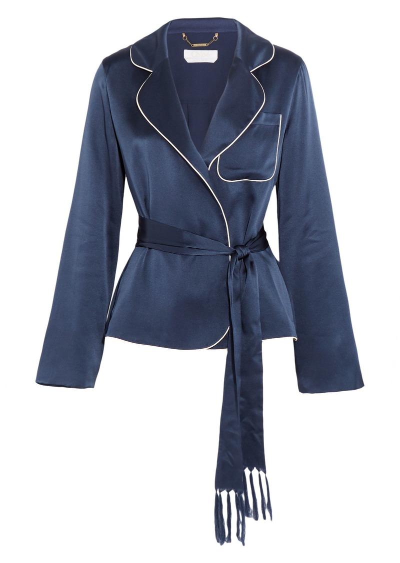 Chloé Woman Silk-satin Jacket Blue