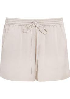 Chloé Woman Silk-satin Shorts Light Gray