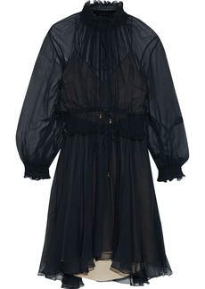 Chloé Woman Ruffle-trimmed Shirred Silk-gauze Dress Midnight Blue