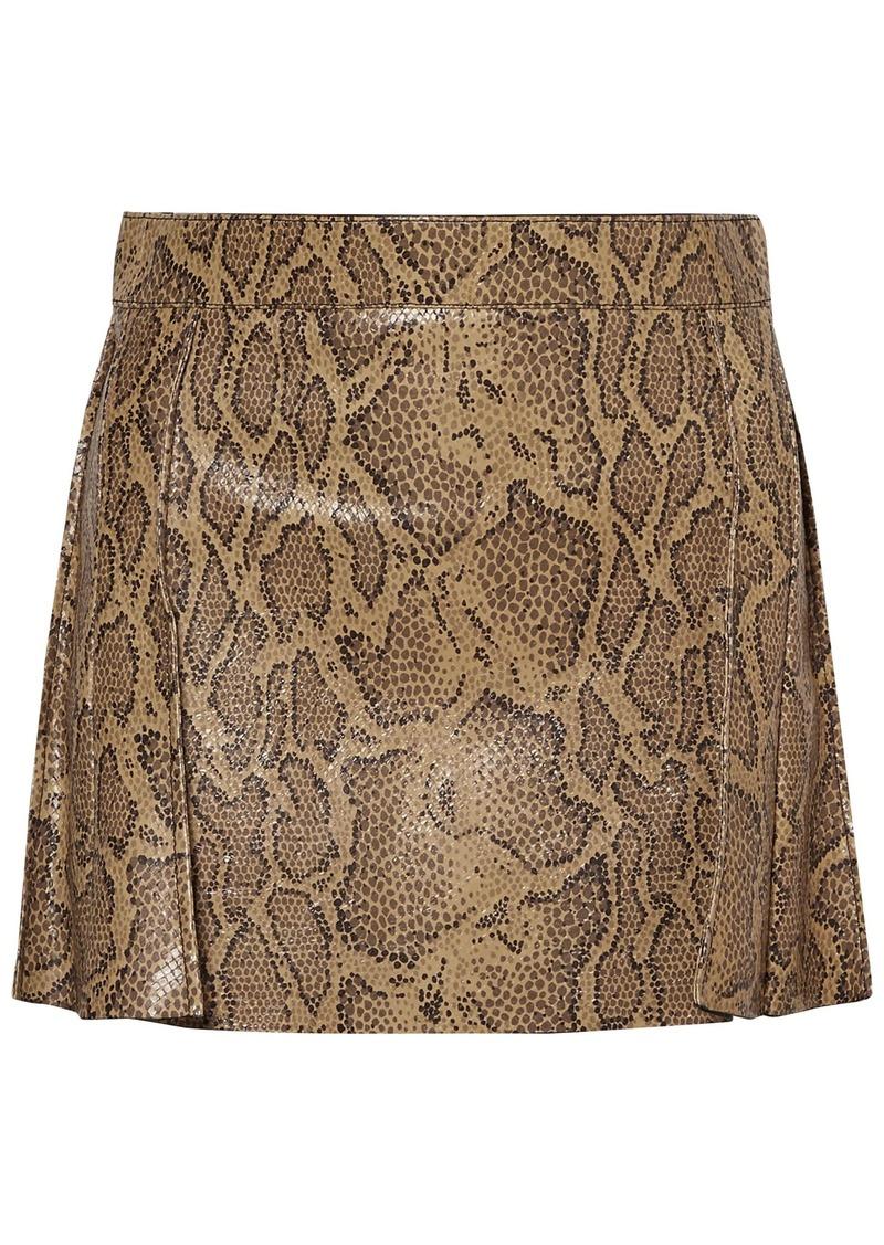 Chloé Woman Snake-effect Leather Mini Skirt Animal Print