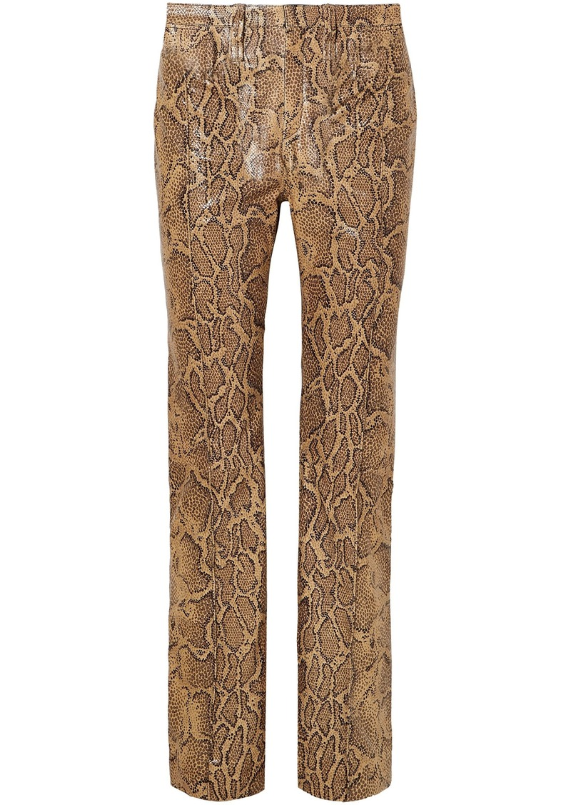 Chloé Woman Snake-effect Leather Straight-leg Pants Animal Print
